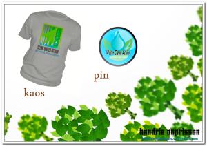 Desain Kaos dan Pin Konservasi Air (dokumentasi pribadi)